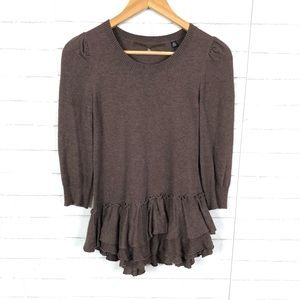 Anthro Knitted and Knotted, Ruffle Hem Sweater